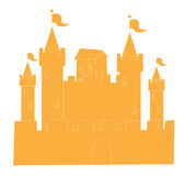 Castle. Silhouette of Orange castle isolate on the white background Royalty Free Stock Photos