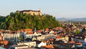 Castle above a city. Castle on a hill above a city, Ljubljana, Slovenia Royalty Free Stock Images