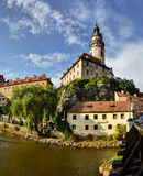 The castle above the city. The impressive castle above the Vltava River Royalty Free Stock Photo