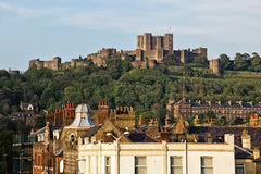 Castle above the roofs of Dover Royalty Free Stock Images