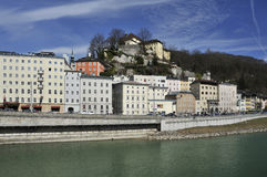 Castle above Salzach in Salzburg Royalty Free Stock Photos