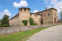 Castle of Agazzano. Emilia-Romagna. Italy. Perspective of the Castle of Agazzano. Emilia-Romagna. Italy royalty free stock image