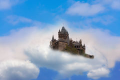 Castle in the air Fantasy castle in the clouds Stock Image