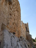 The castle of Ajloun. Known as Qa'lat Al-Rabad by its local and original name; is an Ayyubid castle that stands atop Jabal Auf, near Ajloun, in northern Jordan Stock Photo