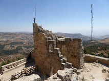 The castle of Ajloun. Known as Qa'lat Al-Rabad by its local and original name; is an Ayyubid castle that stands atop Jabal Auf, near Ajloun, in northern Jordan Royalty Free Stock Photo