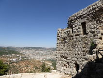 The castle of Ajloun. Known as Qa'lat Al-Rabad by its local and original name; is an Ayyubid castle that stands atop Jabal Auf, near Ajloun, in northern Jordan Stock Photography
