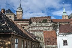 Castle and Akershus Fortress. Oslo - the capital of Norway. Clear sunny summer day. Castle and Akershus Fortress royalty free stock photos