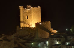 Castle of Alcala del Jucar. A view of the Castle of Alcala del Jucar at night Royalty Free Stock Photos