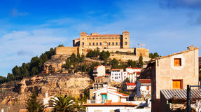 Castle of Alcaniz in winter. Spain stock photo