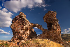 Castle of alcaraz. Ruins of an ancient castle in albacete province (spain), built by muslim culture Royalty Free Stock Photography