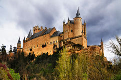 Alcazar of Segovia, Spain. The Castle or Alcazar of Segovia, a medieval town in Spain to the north of Madrid royalty free stock photo