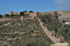 Castle of Almeria in Andalucia. Detail of moor Alcazaba fortified castle in Almeria, Andalucia, Spain Royalty Free Stock Image