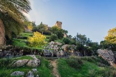 Castle of Almodovar del Rio. View of the Castle Almodovar del Rio on the top of the hill,  near Cordoba, Cordoba Province, Andalusia, Spain Royalty Free Stock Photo
