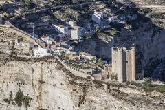 Castle of Almohad origin of the century XII, take in Alcala of t. Alcala del Jucar, Spain - October 29, 2016: Castle of Almohad origin of the century XII, take royalty free stock image