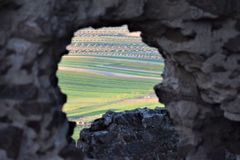 Castle of Almonacid de Toledo. This castle was most probably built by the Moors. It`s first mention was in 848 and in 854 it was the scene of a great battle Stock Photography