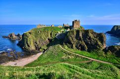 Castle along the coast of Scotland. Ruins of Dunnottar Castle along the coast of Scotland Royalty Free Stock Images