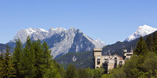 Castle and alpine panorama Royalty Free Stock Image
