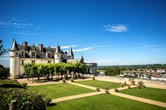 Chateau de Amboise medieval castle, Leonardo Da Vinci tomb. Loire Valley, France, Europe. Unesco site. The castle of Amboise, before being joined to the royal Stock Image