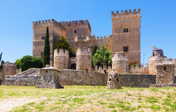 Castle of  Ampudia in summer.   Province of Palencia Royalty Free Stock Photography