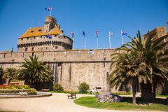 Castle and fortifications of  Saint-Malo royalty free stock photography