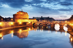Castle Angelo, Ρώμη τη νύχτα Στοκ φωτογραφία με δικαίωμα ελεύθερης χρήσης