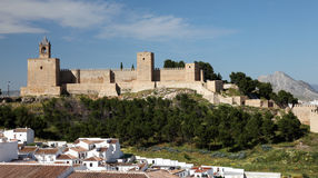Castle in Antequera, Spain. Moorish castle Alcazaba in Andalusian town Antequera, Spain stock photography