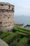 Castle of Aragon in Taranto, Italy. Castle of Aragon, built in the 15th century, on the Mediterranean Sea in Taranto, Puglia, Italy. The building is government Royalty Free Stock Photography