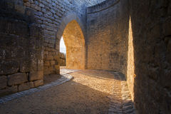 Castle archway. Lit by the setting sun Royalty Free Stock Photos