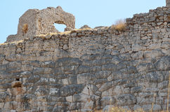 Castle of Argos in Peloponnese, Greece. Details of th wall of castle of Argos or Larissa castle Stock Photography