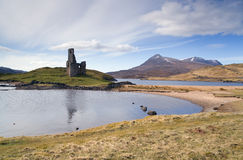 Castle in assynt. Ardvreck Castle on the shore of Loch Assynt, Scotland royalty free stock photography