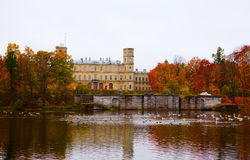 Castle in  autumn park Royalty Free Stock Photography