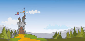 Castle background. Fairy Tale cartoon background with castle and pine woods Royalty Free Stock Photography