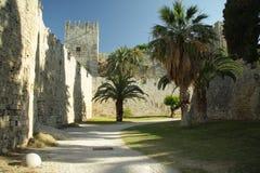 Castle backyard. Rhodes old sity castle backyard royalty free stock photo