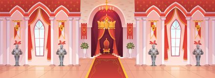 Castle ballroom. Interior medieval royal palace throne royal ceremony room hall kingdom rich fantasy game cartoon royalty free illustration