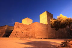 Castle of Bari, Italy. Medieval Swabian Castle of Bari, at twilight, Italy Stock Images