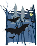 Castle and bats night scene Royalty Free Stock Photos