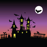 Castle with bats vector six. Illustration Royalty Free Stock Image