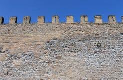 Castle battlements. Exterior of medieval castle showing battlements Stock Photography