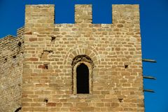 Castle battlements, merlons and window Stock Photos