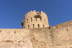 Castle with battlements and walls of red stones, Villafamés rur Stock Image