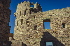Castle with battlements and walls of red stones, Villafamés rur Royalty Free Stock Photo
