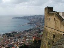 The Castle and the Bay of Naples Royalty Free Stock Images