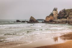 Castle on the Beach. La Bella Villa castle on the coast in Biarritz France. This building is located on the Basque coast in southern France near the Spanish Stock Photo