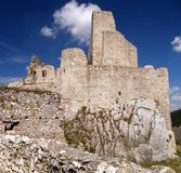 The Castle of Beckov. Ruined castle of Beckov situated in village Beckov in the western Slovakia in Trencin region. The Castle of Beckov is opened to public and Stock Image