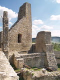 Castle of Beckov - Oldest part of fortification. View of preserved fortification walls and ruined interior of Beckov Castle during summer. These fortification stock photos