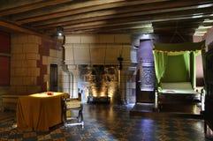Castle bedroom. A bedroom in the medieval Chateau de Langeais, Indre-et-Loire France Stock Photo