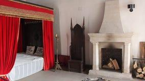Castle bedroom stock footage