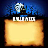 Castle behind sheet of paper Halloween background Royalty Free Stock Image