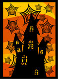 Castle behind spider webs. Old dark castle behind spider webs. Scary halloween background Royalty Free Stock Photos