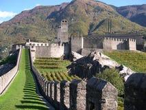 Castle of Bellinzona. Walk path on Castelgrande in Bellinzona, Switzerland Stock Photography